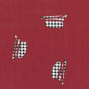 Houndstooth Fabric: Hats on Red | Wholesale Houndstooth Fabric
