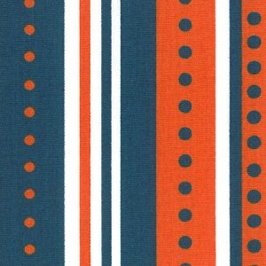 Orange and Blue Fabric - Stripes/Dots: 100% Cotton | Blue and Orange Fabric