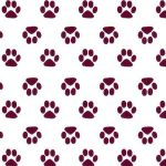 Paw Print Fabric - Maroon Paw on White | Paw Print Cotton Fabric - #1996