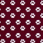 Paw Print Fabric - Maroon | Maroon and White Fabric