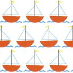 Sailboat Fabric - Orange Sailboats on White | Nautical Baby Fabric