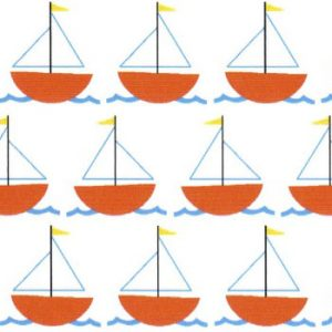 Sailboat Fabric - Orange Sailboats on White | Nautical Baby Fabric