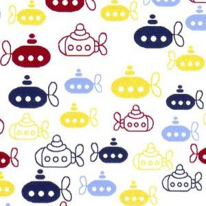 Submarine Fabric - Yellow, Red and Blues Submarines | Nautical Fabric - Print #2000