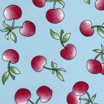 Cherry Print Fabric - Turquoise | Fabric With Cherries - Print #2002