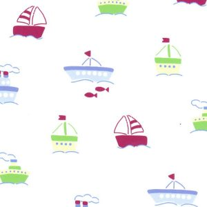 Boat Print Fabric - Boats on White | Nautical Nursery Fabric - Print #2007