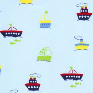 Boat Print Fabric - Boats on Baby Blue | Nautical Nursery Fabric