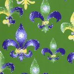 Fleur De Lis Fabric - Mardi Gras Fabric | Mardi Gras Cotton Fabric - #2009