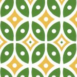 Green and Yellow Geometric Fabric | Geometric Fabric Designs - #2012