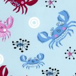 Crab Print Fabric - Light Blue | Crab Fabric - #2013