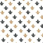 Fleur De Lis Fabric -Black and Bronze | Black and Bronze Fabric