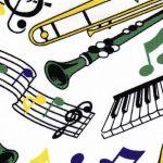 Musical Instrument Fabric - Mardi Gras | Mardi Gras Fabric Wholesale