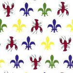 Crawfish Fleur-de-lis Fabric | Crawfish Fabric - 100% Cotton