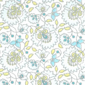 Blue Floral Fabric | Floral Fabric Wholesale - 100% Cotton