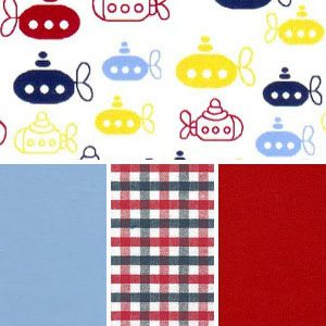 Submarine Fabric Collection: Red, Navy & Yellow | Nautical Fabric