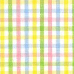 Yellow, Blue, Pink and Green Check Fabric - #T40 | Pastel Gingham Fabric