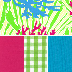 Coral Reef Fabric: Raspberry Blue & Green | Coral Reef Print