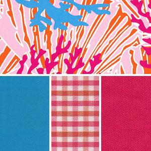 Coral Reef Fabric: Orange, Raspberry and Blue | Coral Reef Print