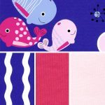 "Whale Print Fabric Collection - 60"" Width 