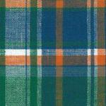 Madras Plaid Fabric - Green, Orange and Blue | Madras Fabric Wholesale