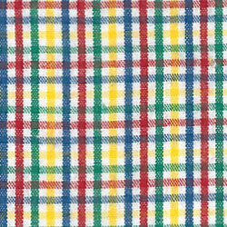 Yellow, Red, Blue and Green Check Fabric - #T101 | Tattersall Fabric - 100% Cotton