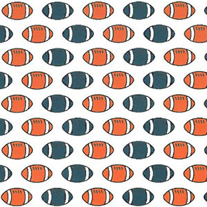 Football Print Fabric: Orange and Navy | Football Cotton Fabric: 100% Cotton