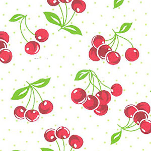 Cherry Print Fabric: Red | Cherry Pattern Fabric - 100% Cotton