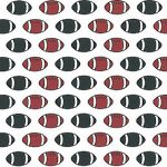Football Print Fabric: Red and Black Footballs | Red and Black Fabric