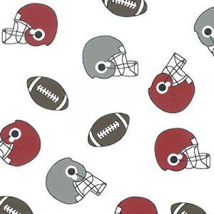 Helmet and Football Print Fabric: Red, Grey and Brown | Wholesale Fabric