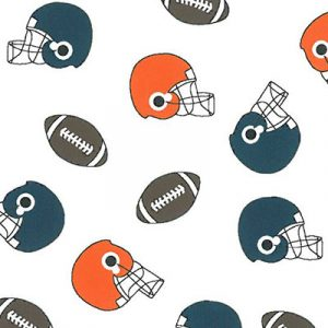 Helmet and Football Print Fabric: Navy and Orange | Wholesale Fabric