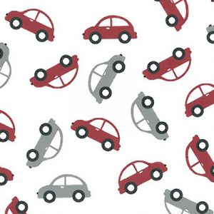 Car Print Fabric: Red and Grey Cars | Wholesale Cotton Fabric
