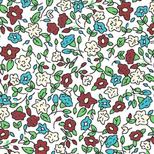 Mini Floral: Crimson, Butter and Turquoise Floral Fabric | Wholesale Fabric