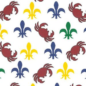 Red Crabs with Purple, Kelly and Gold Fleur de lis Fabric | Cotton Fabric