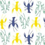 Crawfish Fabric: Purple, Kelly and Gold: Mini Crawfish | Wholesale Fabric