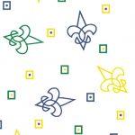 Purple, Kelly and Gold Fleur de lis Fabric | Fleur de Lis Cotton Fabric