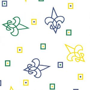 Purple, Kelly and Gold Fleur de lis Fabric | Fleur de Lis Cotton Fabric