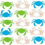 Turquoise and Lime Green Crab Fabric | Crab Print Fabric