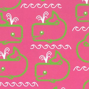 Whale Print Fabric: Lime Whales on Raspberry | Whale Cotton Fabric