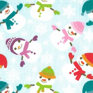 "Snowman Fabric: Snowman on Blue | 100% Cotton Print Fabric - 60"" Wide"