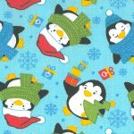 Penguin Print Fabric: Penguins on Aqua | Penguin Cotton Fabric