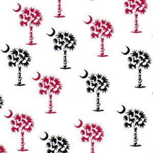 Palmetto Tree Fabric: Garnet and Black | Garnet and Black Fabric