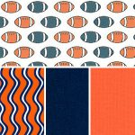 Football Fabric Collection: Orange & Navy | Orange & Navy Fabric