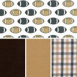 Football Fabric Collection: Black & Bronze | Football Print Fabric
