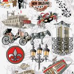 New Orleans Fabric: 300th Anniversary Print - Red and Black