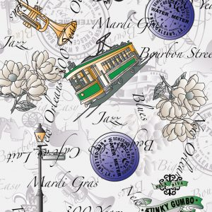 New Orleans Fabric: Purple, Green & Yellow   Louisiana Fabric