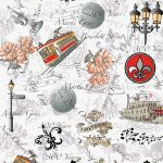 New Orleans 300th Anniversary Fabric: Red & Black | New Orleans Fabric