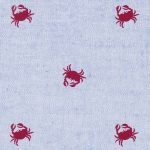 Crab Print Fabric - Red Crabs on Blue Chambray - #2108