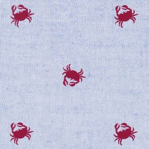 Chambray Printed Fabric: Red Crabs on Blue Chambray - #2108