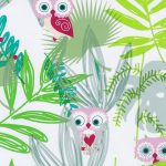 Owl Print Fabric: Pink and Tan Owls in Green Leaves | Owl Fabric