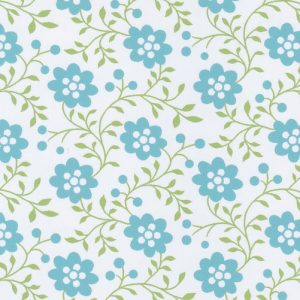 Aqua and Green Floral Fabric | Floral Fabric Wholesale
