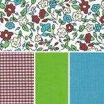 Floral Fun: Crimson, Green & Blue | Multi Color Floral Fabric
